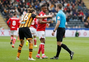 Bristol City's Niclas Eliasson argues after his effort is disallowed.