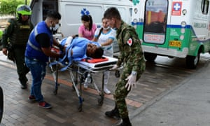 A wounded man is admitted to a clinic in Cúcuta, Colombia, on 14 May 2019, after an attack with explosives to a judicial commission in the turbulent region of Catatumbo, which left two people dead and eight wounded.