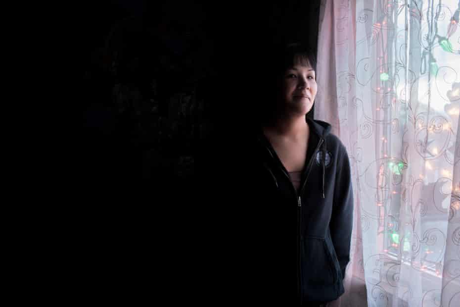 Stacy Bourdukofsky, in her bedroom in Saint Paul, Alaska.