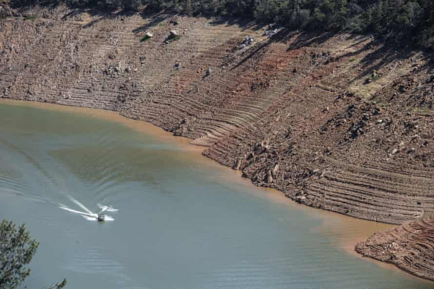 Lake Oroville, California's second largest reservoir, in Oroville, on 19 June 2021.