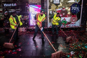 Workers clean up Times Square in New York City