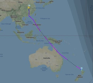 The route take by Air New Zealand flight 1942 from Wuhan to Auckland.