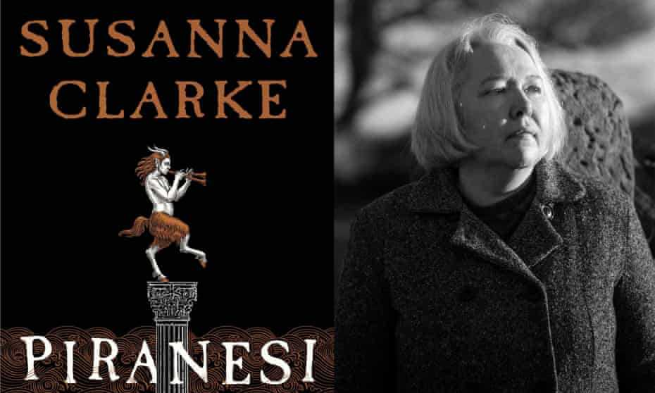Susanna Clarke with the cover of Piranesi.
