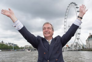 Nigel Farage Joins Fishing For Leave On A Flotilla Down The Thames.