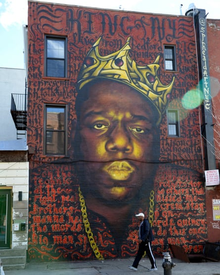 A wall mural of the Notorious B.I.G. on Quincy Street at Bedford Avenue