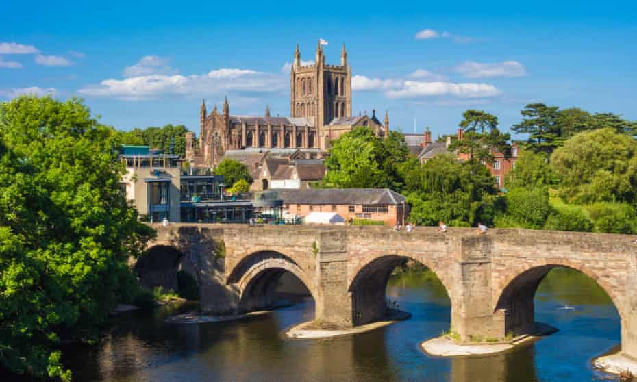 Hereford Cathedral and the Old Wye bridge.