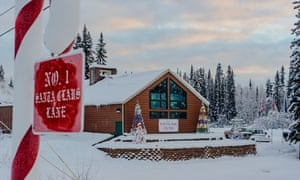 City hall decorated for Christmas in North Pole, Alaska.
