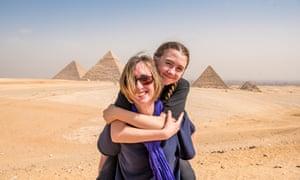 Catherine and Mia at the Giza pyramids