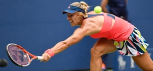 Angelique Kerber stretches for a backhand return.