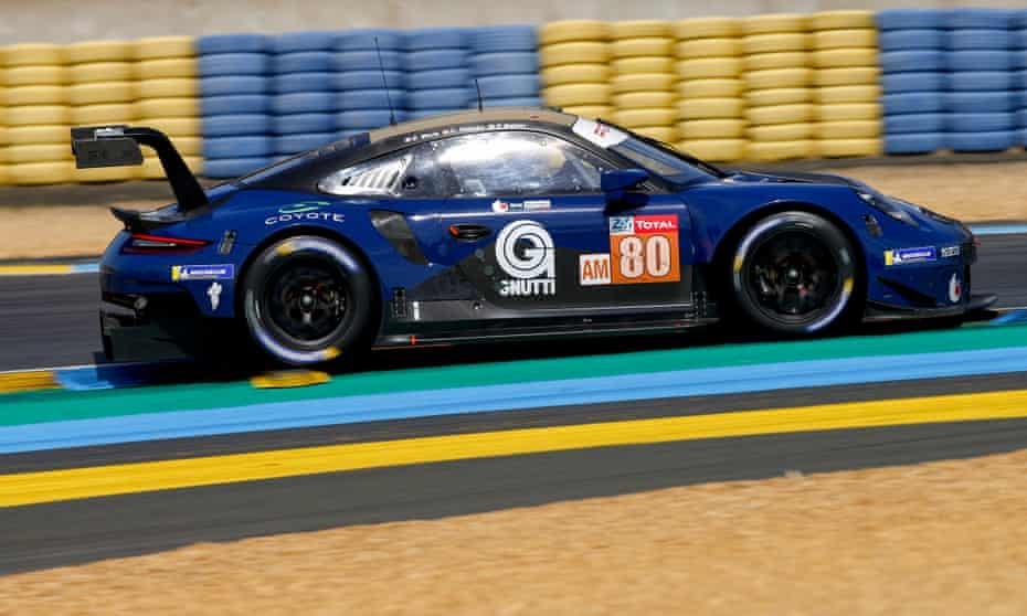 Christina Nielsen in her Porsche 911 RSR during practice at Le Mans.