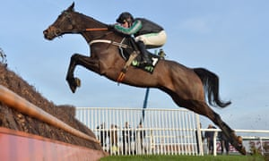 Altior jumps the last fence before going on to win the Desert Orchid Chase at Kempton.