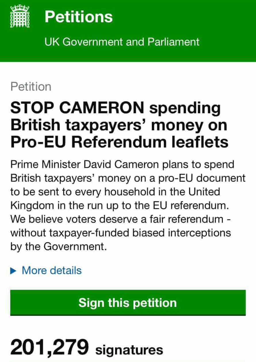 Screenshot of UK petition website about EU leaflet