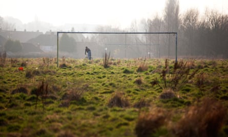 An overgrown football pitch on the outskirts of Coventry, UK