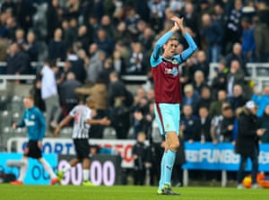 Peter Crouch applauds the fans after Burnley's loss at Newcastle in midweek.