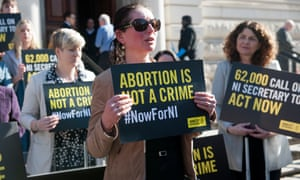 Women affected by Northern Ireland's strict abortion laws protest in Westminster earlier this year.