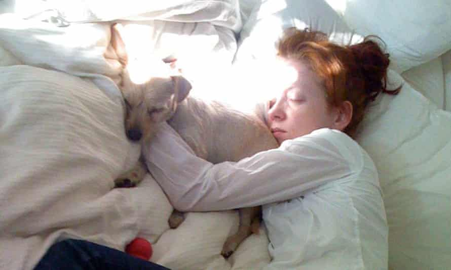Shirley Manson with her rescue dog Veela.