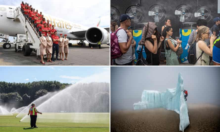 Clockwise from top left: the Arsenal squad pose for a picture on the steps of their plane; tennis fans stand in a line next to water fans during the Australian Open; Will Gadd ice climbing near the summit of Mount Kilimanjaro; sprinklers are turned on following an ICC U19 Cricket World Cup match