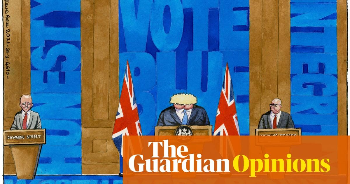 Steve Bell on Boris Johnson's new £2.6m press briefing room - dibujos animados