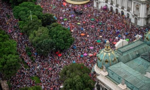 Women's rights protesters stage a demonstration against Jair Bolsonaro during last year's presidential campaign