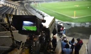 Tv camera at football stadium