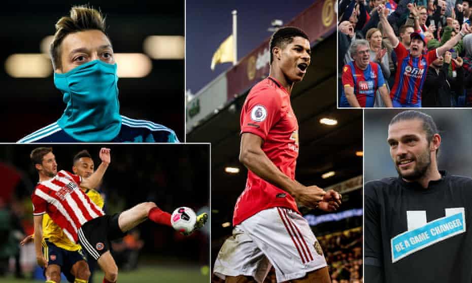 Mesut Ozil of Arsenal, Marcus Rashford of Manchester United, Crystal Palace fans, Newcastle's Andy Carroll and Sheffield United's Chris Basham.