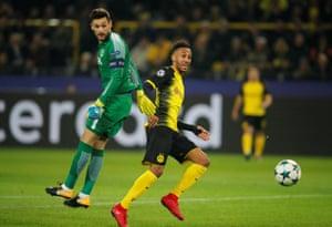Borussia Dortmund's Pierre-Emerick Aubameyang beats Hugo Lloris but misses the target.