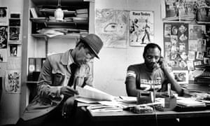 Poet Linton Kwesi Johnson and Darcus Howe at the Race Today office on Railton Road, Brixton, 1979