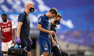 César Azpilicueta departs with injury in the first half.