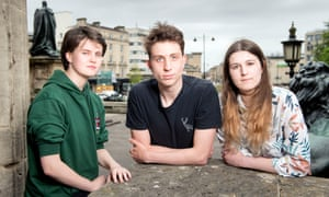 Bristol University students Emily Sykes, Isaac Haigh and Ruth Day.