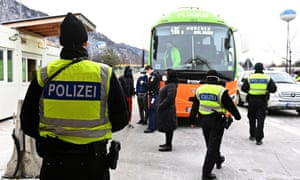 German border police speak to bus passengers seeking to enter the country from the Austrian Tirol last week.