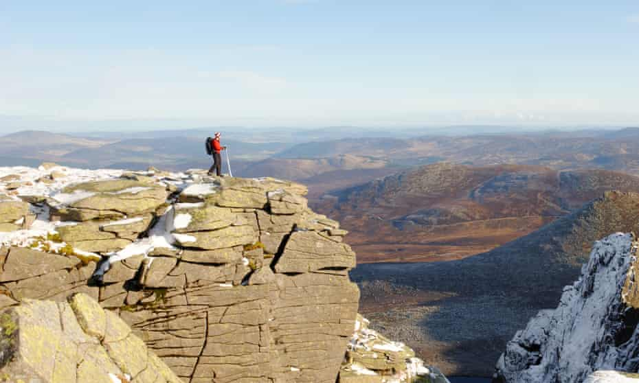 A walker above the north face of Lochnagar, the mountain that was the inspiration for the poet's Lachin Y Gair.