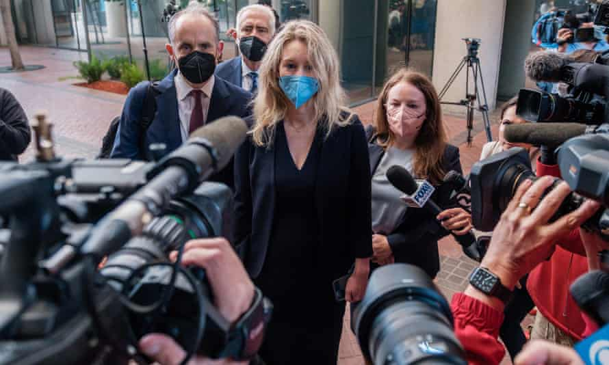 Elizabeth Holmes, the founder and former CEO of Theranos, arrives at a federal court in San Jose, California on 31 August.