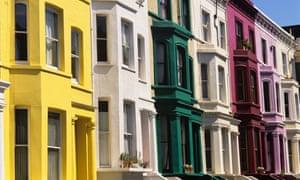 Terraced houses in Portobello Road, west London.