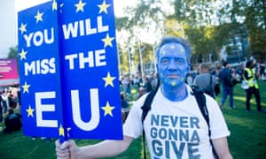 A protester on the London march demanding a people's vote.