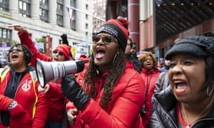 A Chicago Teachers Union rally in downtown Chicago.