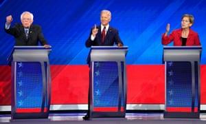 Bernie Sanders, Joe Biden and Elizabeth Warren at a Democratic debate in Houston, Texas, on 12 September.