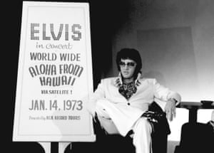 Presley during a promotional interview at the Las Vegas Hilton on 4 September 1972 for his televised concert Elvis: Aloha from Hawaii