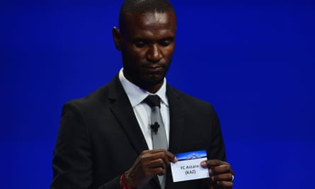 Ex-Barcelona defender Eric Abidal pulls out FC Astana in the UEFA Champions League draw.