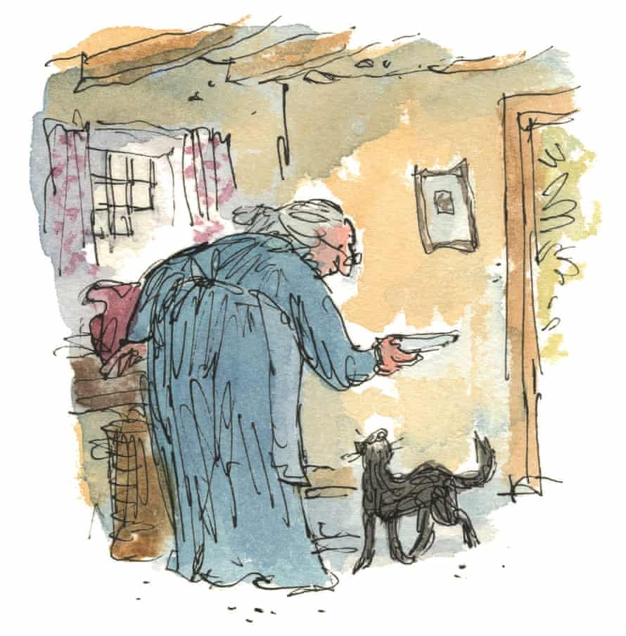An illustration by Quentin Blake for The Tale of Kitty-in-Boots