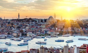 Istanbul at sunset … the old city viewed from across the Golden Horn.