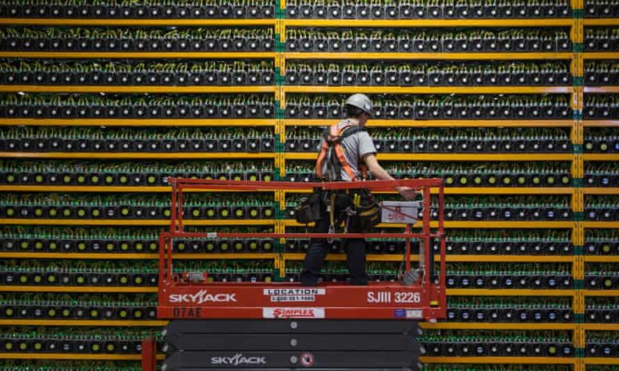 A bitcoin mining technician at Bitfarms in Saint Hyacinthe, Quebec.