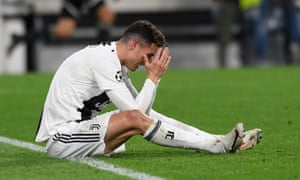 FC Juventus's Cristiano Ronaldo looks dejected during the UEFA Champions League quarterfinal second leg match between FC Juventus and Ajax in Turin, Italy, last night.