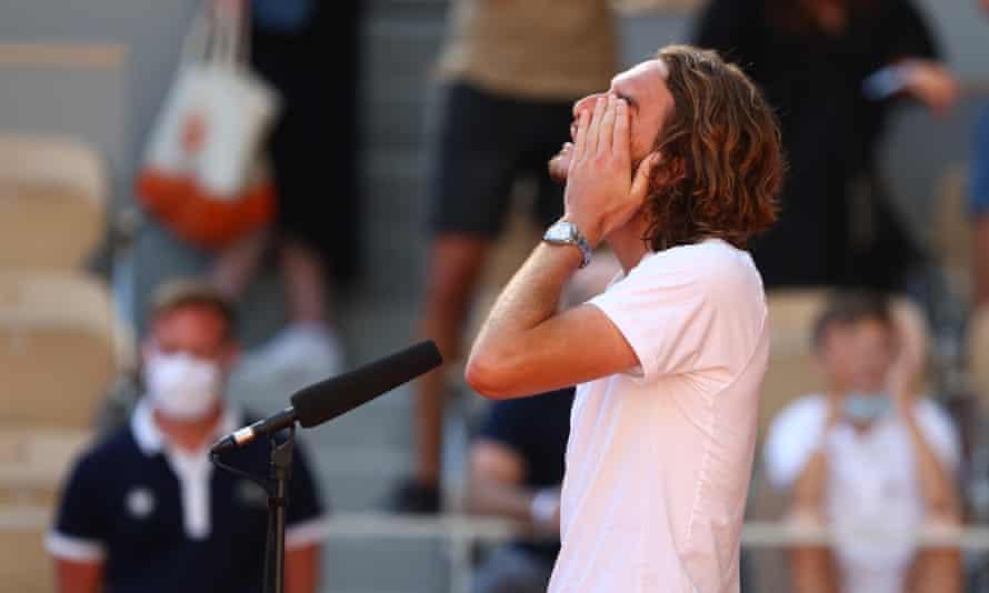 Stefanos Tsitsipas gives an emotional interview after his semi-final win over Alexander Zverev