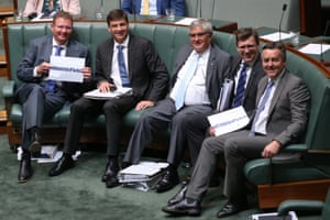 """Oh the lols:The hook on the government benches have started an """"I sit with Fletch""""campaign in support of their front bench colleague Paul Fletcher during question time"""
