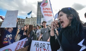 Protesters at a march in Dublin in favour of legalising abortion. Large urban centres have emerged as strongholds for reproductive rights.
