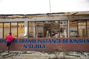 The burnt out courthouse of N'djili in the St Therese district of Kinshasa
