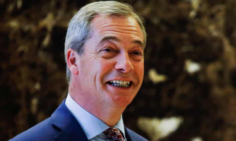 Nigel Farage arrives at Trump Tower in New York.