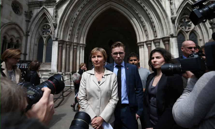 Marina Litvinenko and her son Anatoly, as she addresses the media outside the high court inquiry into her husband's death.