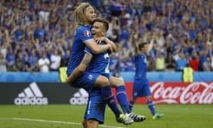 Iceland's Arnor Ingvi Traustason celebrates scoring the winner.
