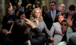 Summer Zervos leaves court with prominent attorney Gloria Allred on Tuesday. Zervos claims Trump kissed her and groped her breast during a 2007 meeting.